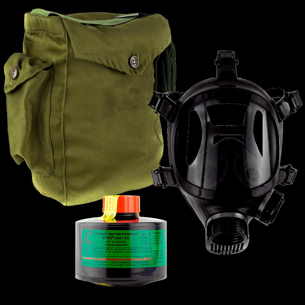 Промышленный противогаз Бриз-3301(ППФ) K2 маска ППМ