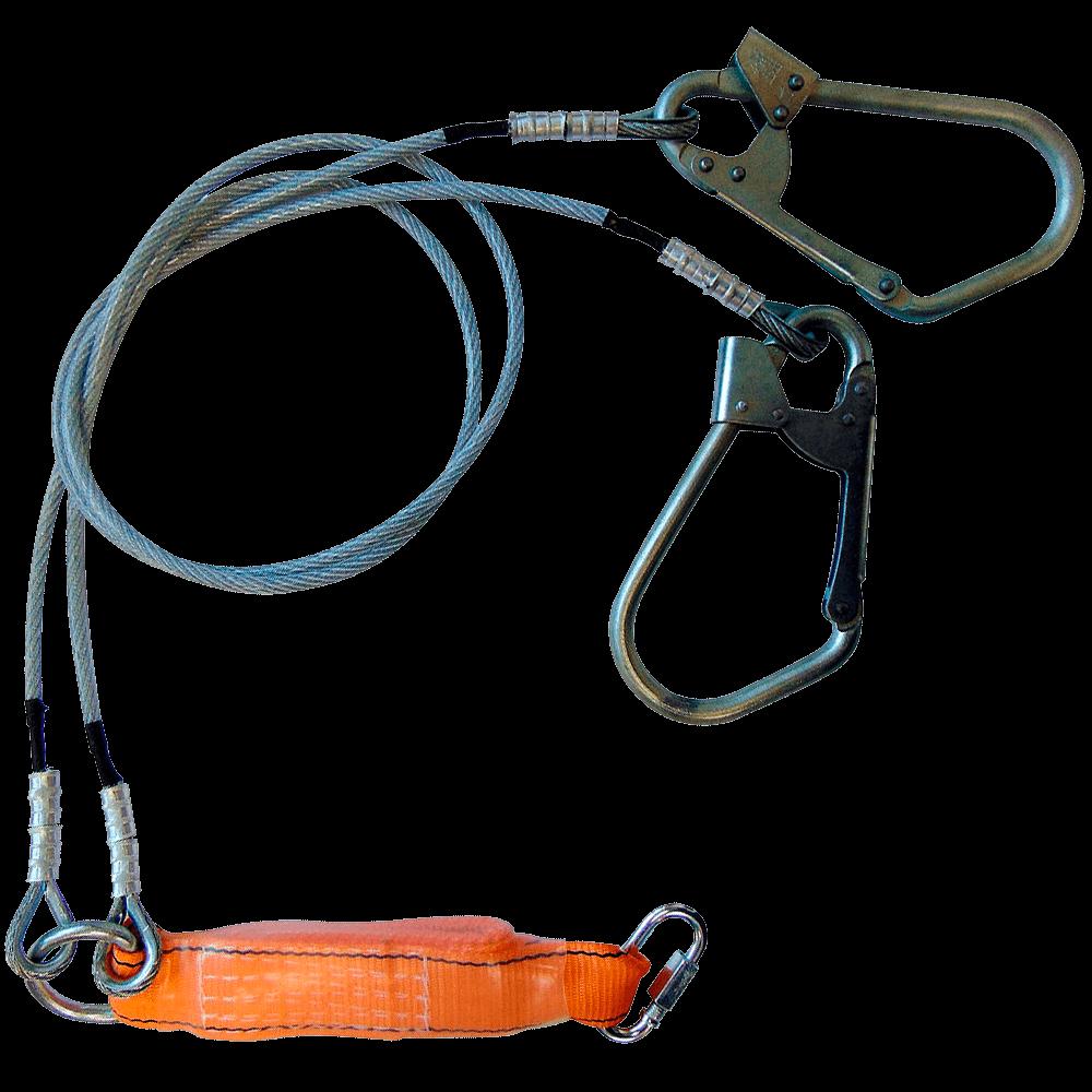 Строп аБд двуплечий с амортизатором, двумя большими монтажными и соединительным карабином