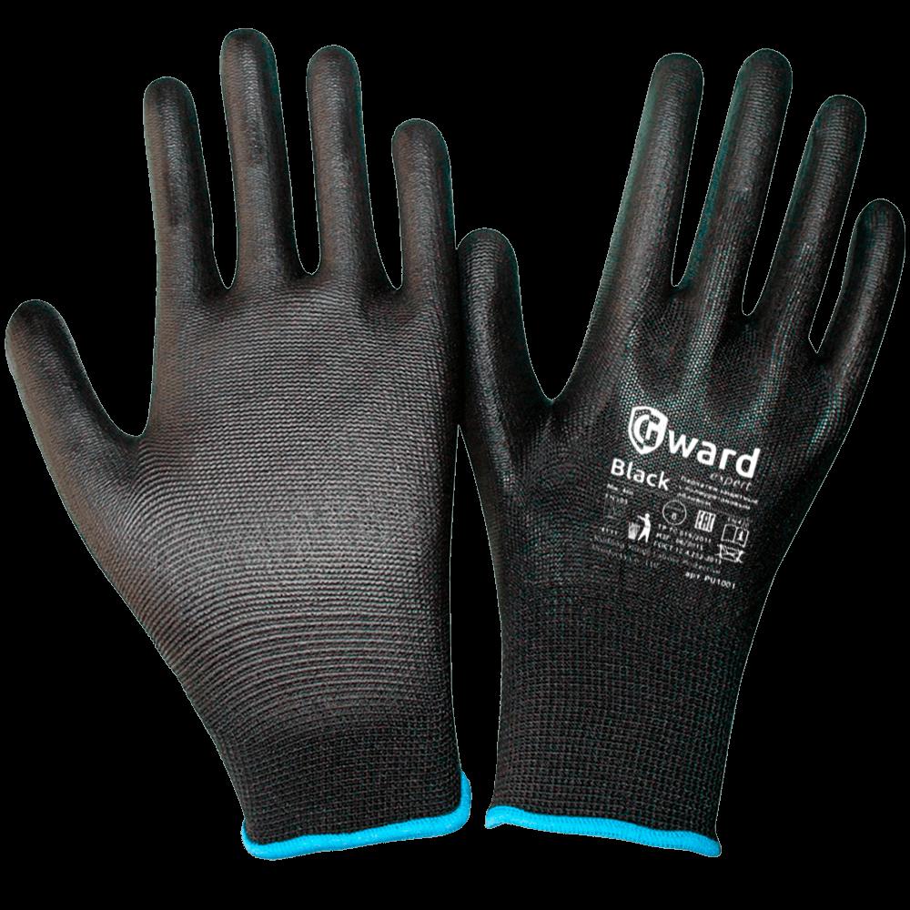 Перчатки нейлоновые с полиуритановым покрытием PU1001 черные
