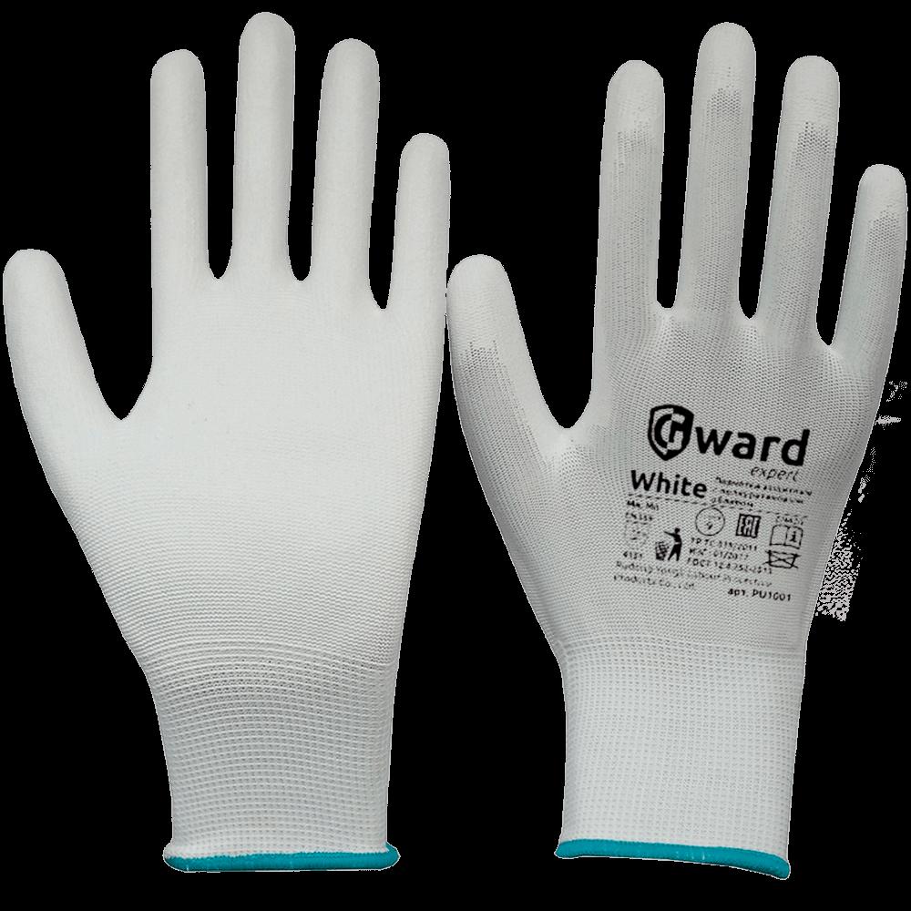 Перчатки нейлоновые с полиуритановым покрытием PU1001 белые