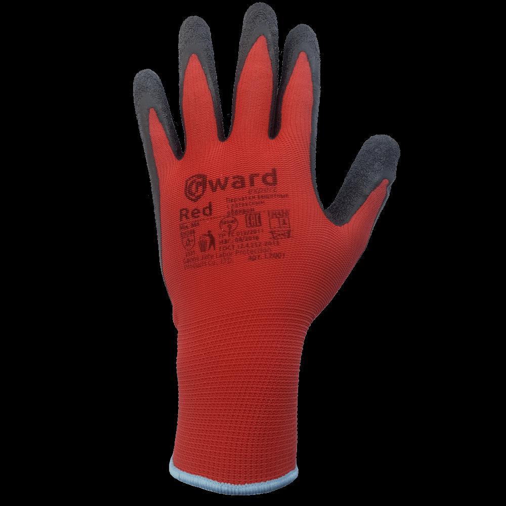 Перчатки нейлоновые с текстурированным латексом Gward Red L2001