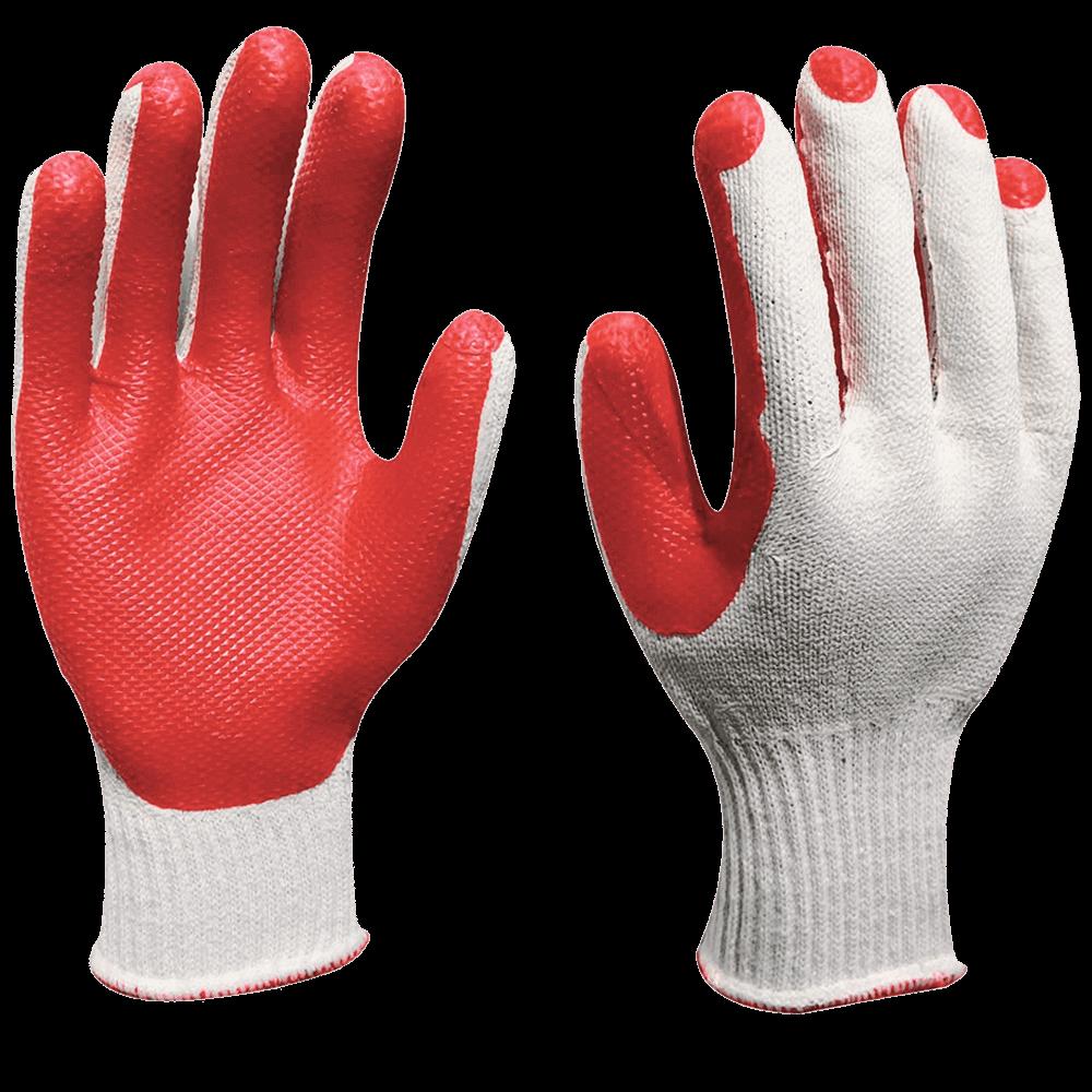 Перчатки трикотажные с ламинированным латексным покрытием бело-красные